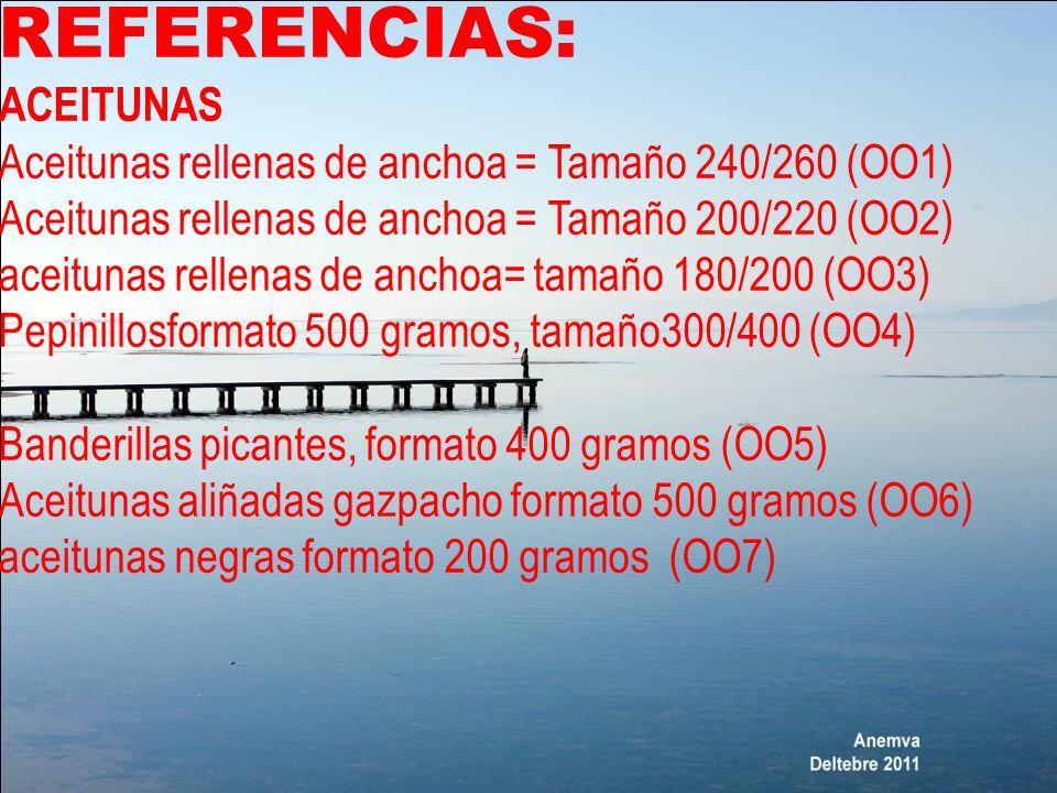 REFERENCIAS: ACEITUNAS Aceitunas rellenas de anchoa = Tamaño 240/260 (OO1) Aceitunas rellenas de anchoa = Tamaño 200/220 (OO2) aceitunas rellenas de a