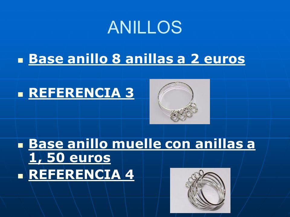 ANILLOS Base anillo 8 anillas a 2 euros REFERENCIA 3 Base anillo muelle con anillas a 1, 50 euros REFERENCIA 4