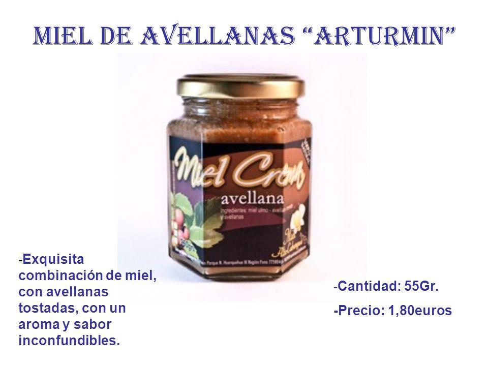 MIEL DE AVELLANAS ARTURMIN - Exquisita combinación de miel, con avellanas tostadas, con un aroma y sabor inconfundibles. - Cantidad: 55Gr. -Precio: 1,