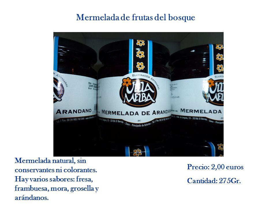 Mermelada de frutas del bosque Mermelada natural, sin conservantes ni colorantes. Hay varios sabores: fresa, frambuesa, mora, grosella y arándanos. Pr