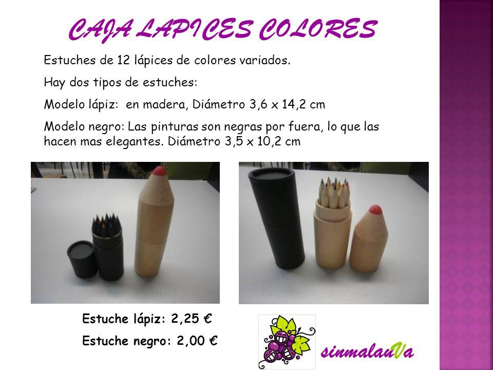 Estuches de 12 lápices de colores variados. Hay dos tipos de estuches: Modelo lápiz: en madera, Diámetro 3,6 x 14,2 cm Modelo negro: Las pinturas son