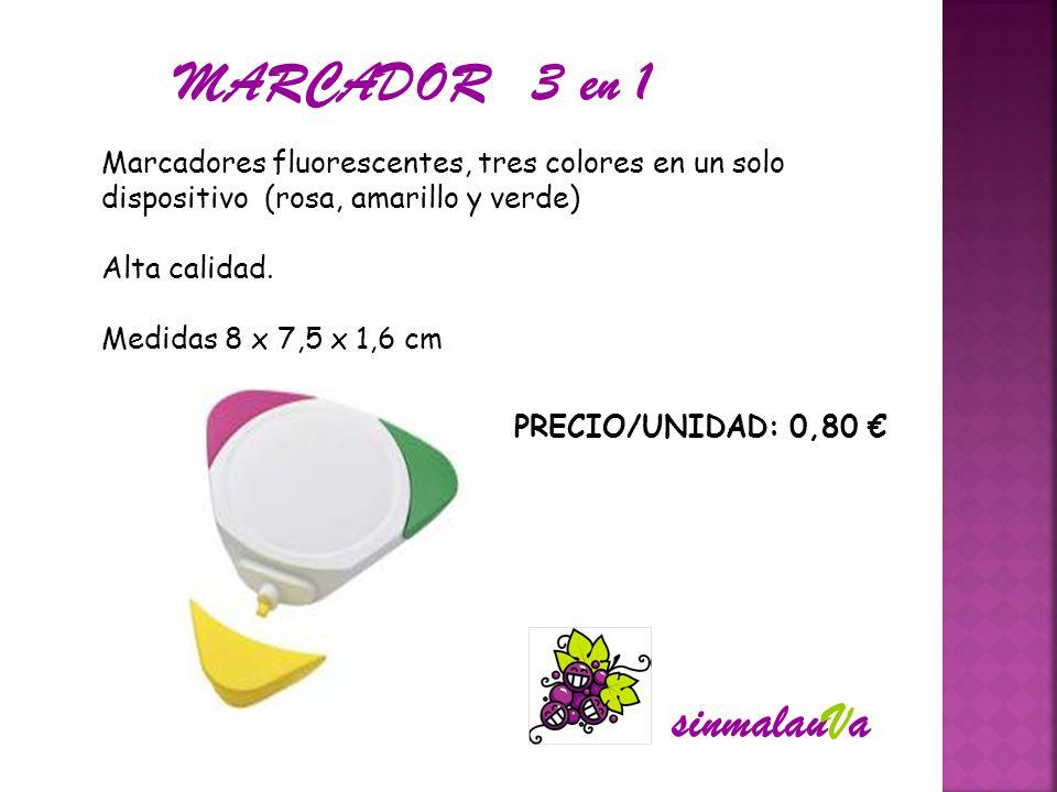 Marcadores fluorescentes, tres colores en un solo dispositivo (rosa, amarillo y verde) Alta calidad. Medidas 8 x 7,5 x 1,6 cm PRECIO/UNIDAD: 0,80 MARC