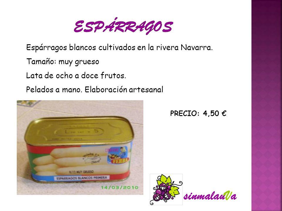 Espárragos blancos cultivados en la rivera Navarra. Tamaño: muy grueso Lata de ocho a doce frutos. Pelados a mano. Elaboración artesanal PRECIO: 4,50