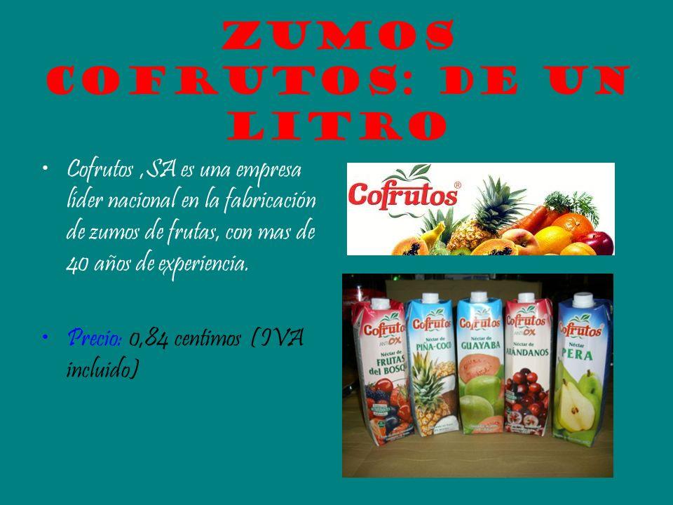 Zumos cofrutos: de un Litro Cofrutos,SA es una empresa líder nacional en la fabricación de zumos de frutas, con mas de 40 años de experiencia. Precio: