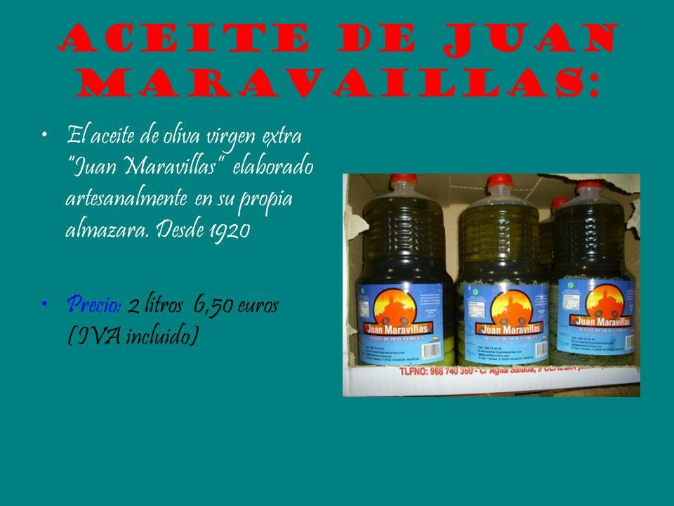 Aceite de Juan Maravaillas: El aceite de oliva virgen extra Juan Maravillas elaborado artesanalmente en su propia almazara. Desde 1920 Precio: 2 litro
