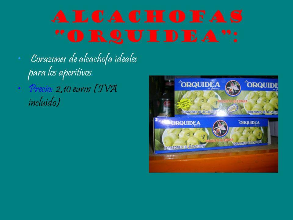 Alcachofas orquidea: Corazones de alcachofa ideales para los aperitivos. Precio: 2,10 euros (IVA incluido)