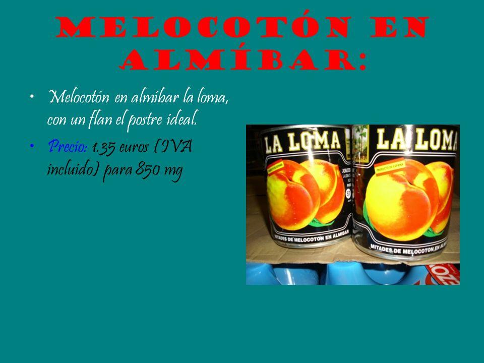 Melocotón en almíbar: Melocotón en almíbar la loma, con un flan el postre ideal. Precio: 1.35 euros (IVA incluido) para 850 mg