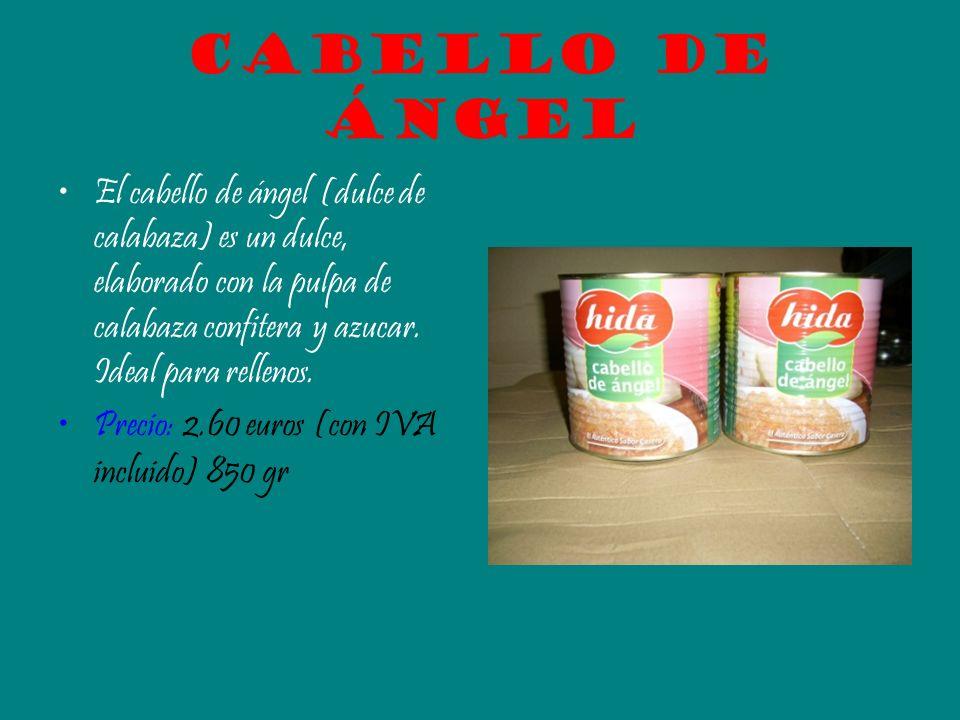 Cabello de ángel El cabello de ángel (dulce de calabaza) es un dulce, elaborado con la pulpa de calabaza confitera y azucar. Ideal para rellenos. Prec