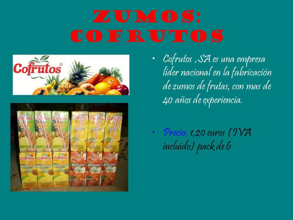 Zumos: Cofrutos Cofrutos,SA es una empresa lider nacional en la fabricación de zumos de frutas, con mas de 40 años de experiencia. Precio: 1,20 euros
