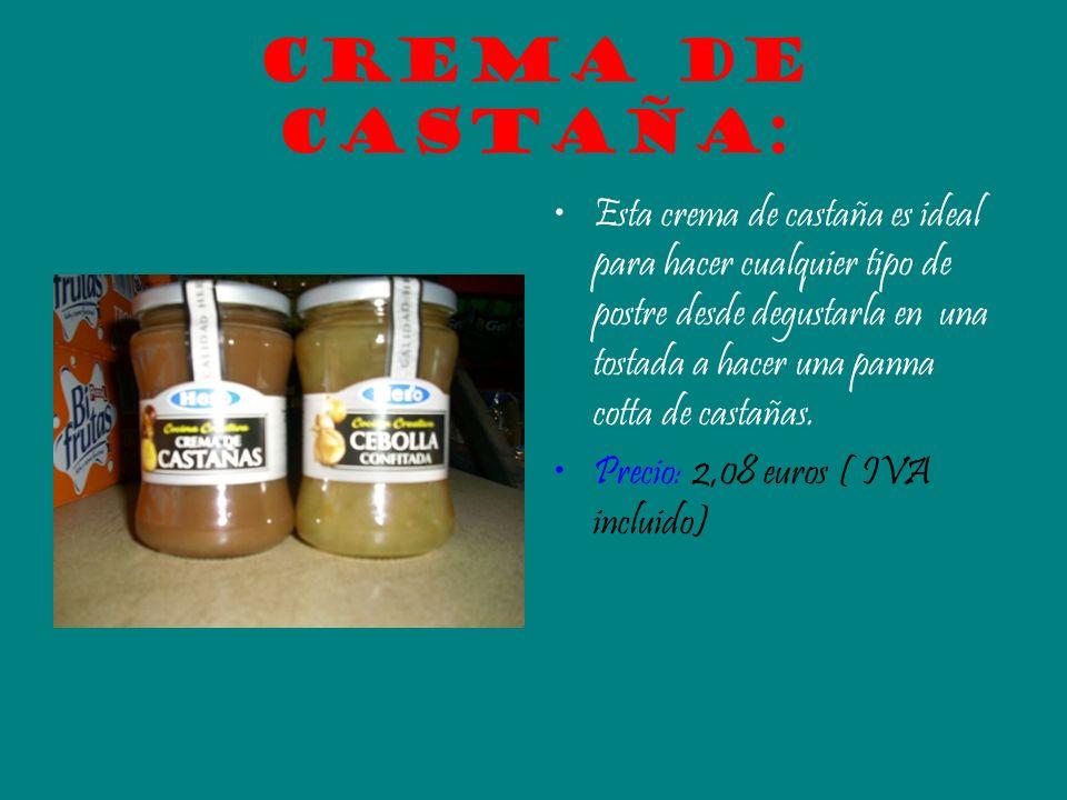 Crema de castaña: Esta crema de castaña es ideal para hacer cualquier tipo de postre desde degustarla en una tostada a hacer una panna cotta de castañ