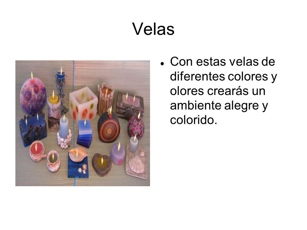 Velas Con estas velas de diferentes colores y olores crearás un ambiente alegre y colorido.