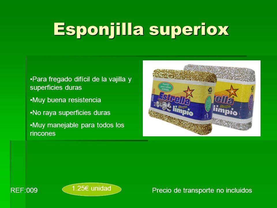 Esponjilla superiox Precio de transporte no incluidosREF:009 1.25 unidad Para fregado difícil de la vajilla y superficies duras Muy buena resistencia