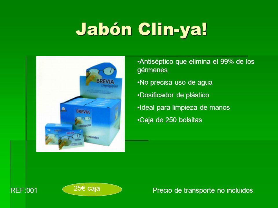 Jabón Clin-ya! Precio de transporte no incluidosREF:001 Antiséptico que elimina el 99% de los gérmenes No precisa uso de agua Dosificador de plástico
