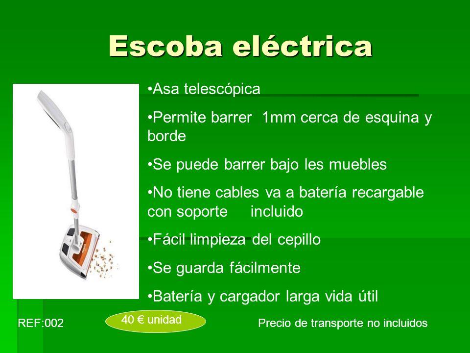 Escoba eléctrica Asa telescópica Permite barrer 1mm cerca de esquina y borde Se puede barrer bajo les muebles No tiene cables va a batería recargable