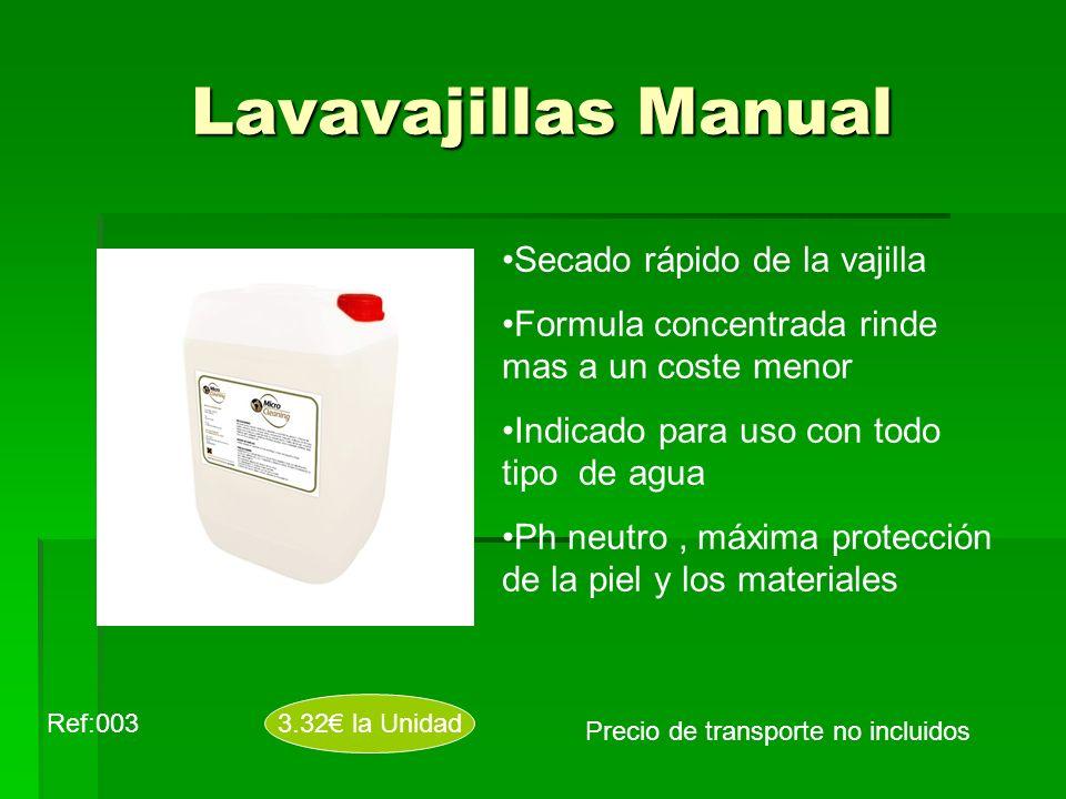 Lavavajillas Manual Secado rápido de la vajilla Formula concentrada rinde mas a un coste menor Indicado para uso con todo tipo de agua Ph neutro, máxi