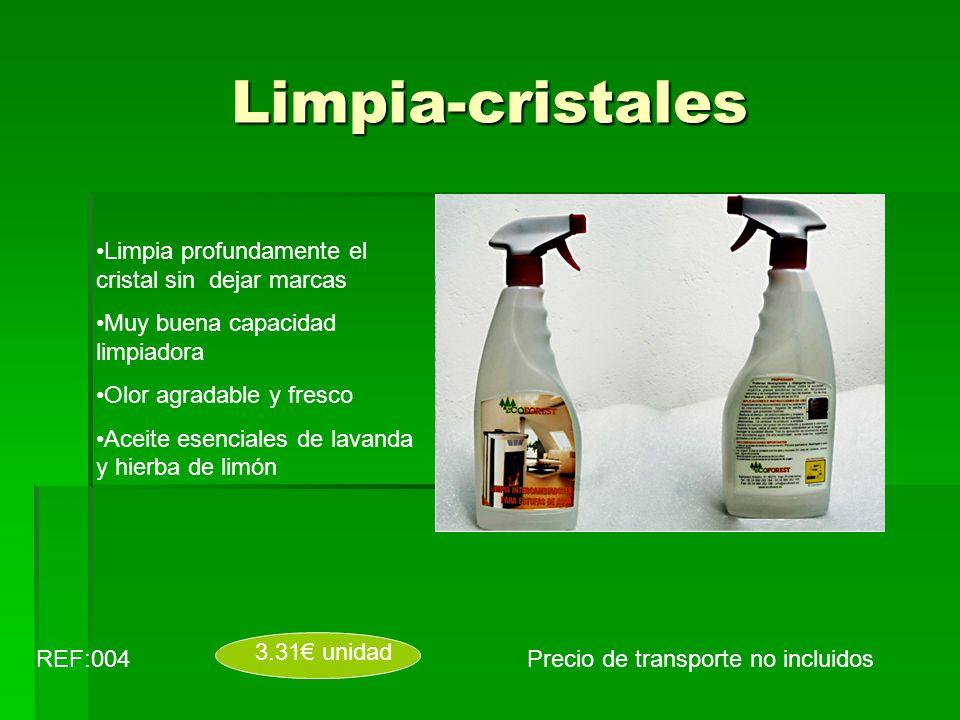 Limpia-cristales REF:004 3.31 unidad Limpia profundamente el cristal sin dejar marcas Muy buena capacidad limpiadora Olor agradable y fresco Aceite es