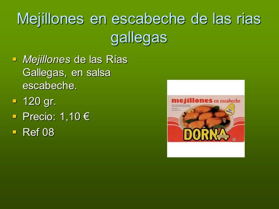 Mejillones en escabeche de las rias gallegas Mejillones de las Rías Gallegas, en salsa escabeche. Mejillones de las Rías Gallegas, en salsa escabeche.
