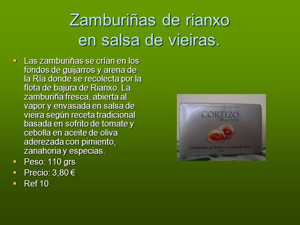 Zamburiñas de rianxo en salsa de vieiras. Las zamburiñas se crían en los fondos de guijarros y arena de la Ría donde se recolecta por la flota de baju