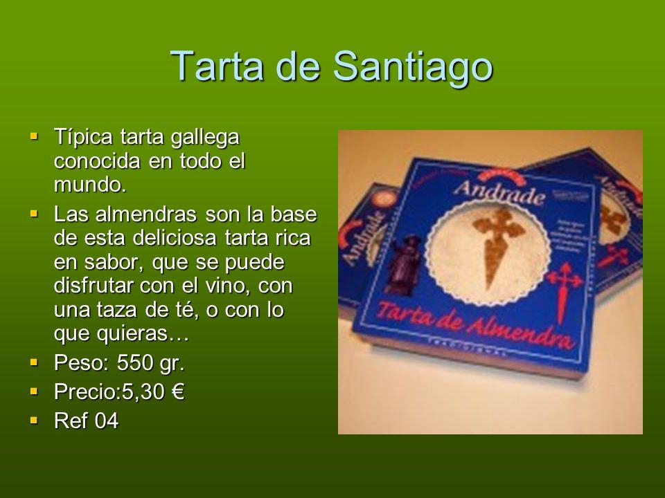 Tarta de Santiago Típica tarta gallega conocida en todo el mundo. Típica tarta gallega conocida en todo el mundo. Las almendras son la base de esta de