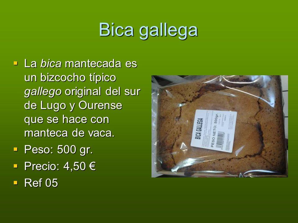 Bica gallega La bica mantecada es un bizcocho típico gallego original del sur de Lugo y Ourense que se hace con manteca de vaca. La bica mantecada es