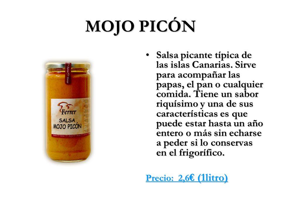 MOJO PICÓN Salsa picante típica de las islas Canarias. Sirve para acompañar las papas, el pan o cualquier comida. Tiene un sabor riquísimo y una de su