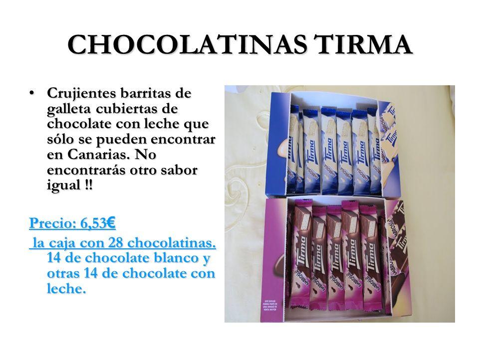 CHOCOLATINAS TIRMA Crujientes barritas de galleta cubiertas de chocolate con leche que sólo se pueden encontrar en Canarias. No encontrarás otro sabor