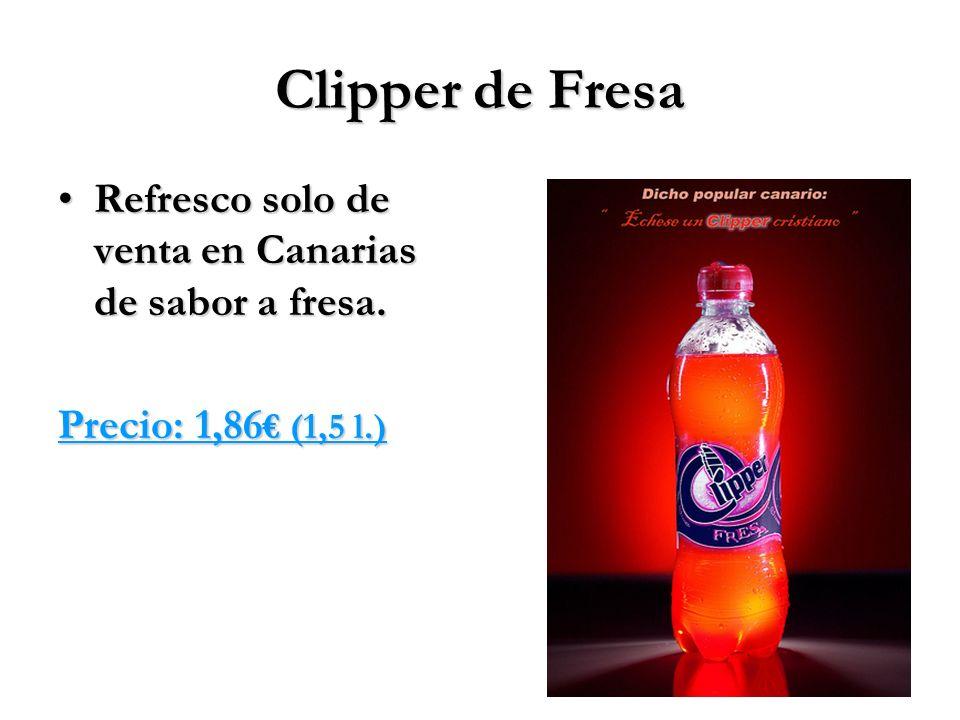 Clipper de Fresa Refresco solo de venta en Canarias de sabor a fresa.Refresco solo de venta en Canarias de sabor a fresa. Precio: 1,86 (1,5 l.)