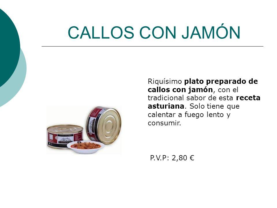 CALLOS CON JAMÓN Riquísimo plato preparado de callos con jamón, con el tradicional sabor de esta receta asturiana. Solo tiene que calentar a fuego len