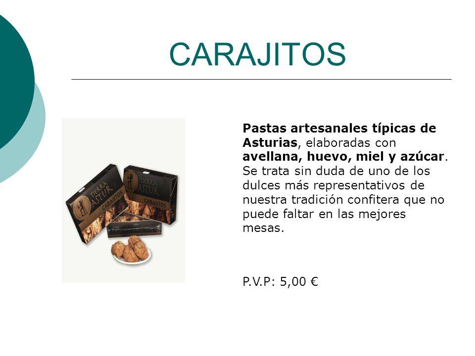 CARAJITOS Pastas artesanales típicas de Asturias, elaboradas con avellana, huevo, miel y azúcar. Se trata sin duda de uno de los dulces más representa
