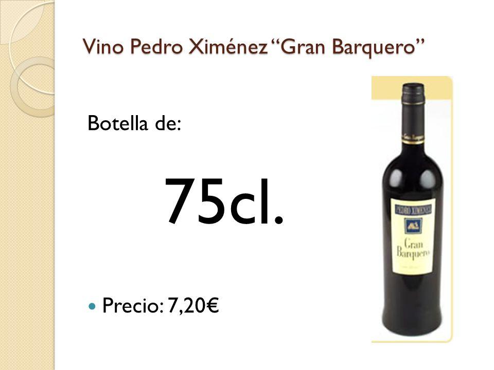 Vino Pedro Ximénez Gran Barquero Botella de: Precio: 7,20 75cl.