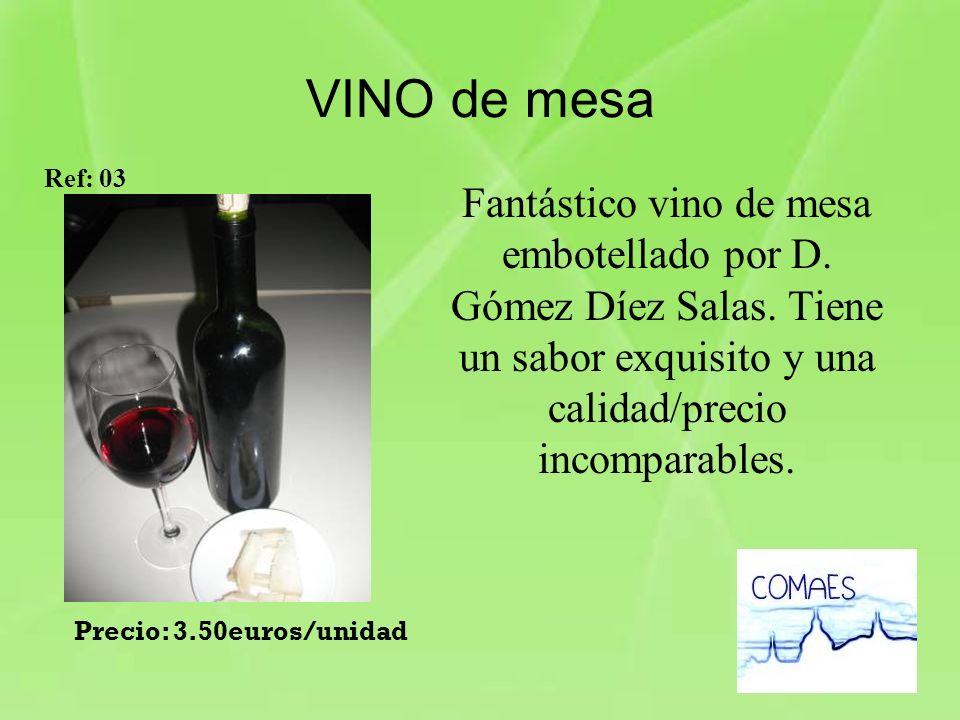 VINO de mesa Fantástico vino de mesa embotellado por D. Gómez Díez Salas. Tiene un sabor exquisito y una calidad/precio incomparables. Ref: 03 Precio: