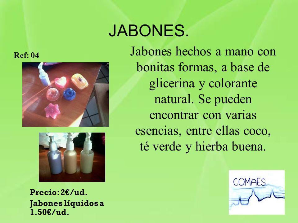 JABONES. Jabones hechos a mano con bonitas formas, a base de glicerina y colorante natural. Se pueden encontrar con varias esencias, entre ellas coco,