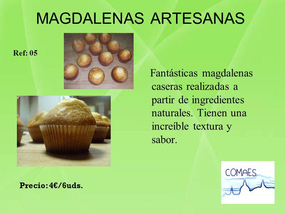 Fantásticas magdalenas caseras realizadas a partir de ingredientes naturales. Tienen una increíble textura y sabor. MAGDALENAS ARTESANAS Ref: 05 Preci