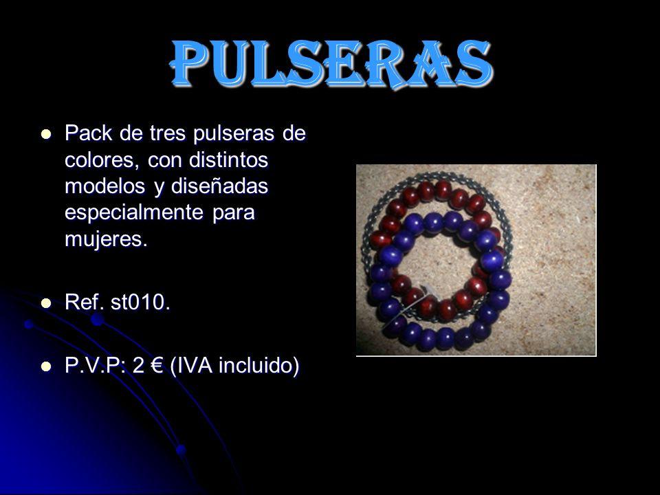 PULSERAS Pack de tres pulseras de colores, con distintos modelos y diseñadas especialmente para mujeres.