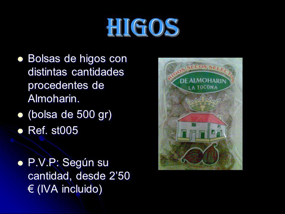 HIGOS Bolsas de higos con distintas cantidades procedentes de Almoharin.