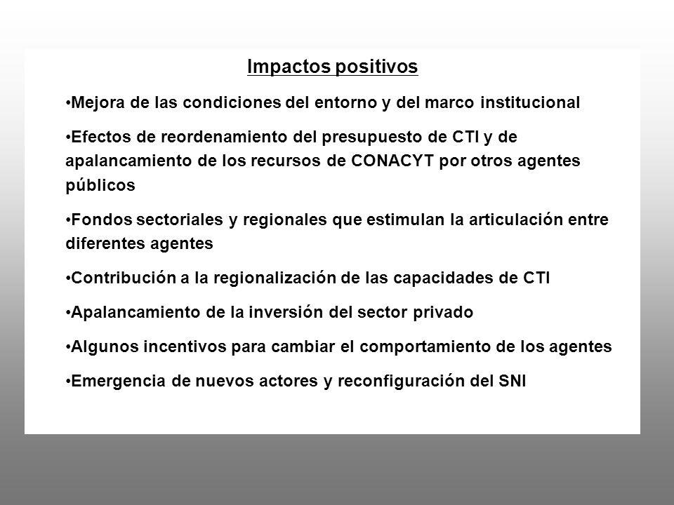Pero, la asignación de recursos muestra un conjunto diferente de prioridades implícitas de la politica de CTI y algunas rigideces: Concentración en RH y ciencia básica Escasos recursos para la investigación orientada Limitados recursos directos para la innovación, primero a través de los incentivos fiscales a la I+D y ahora con el PEI –sesgo hacia empresas grandes y subsidiarias en actividades con poco contenido de I+D