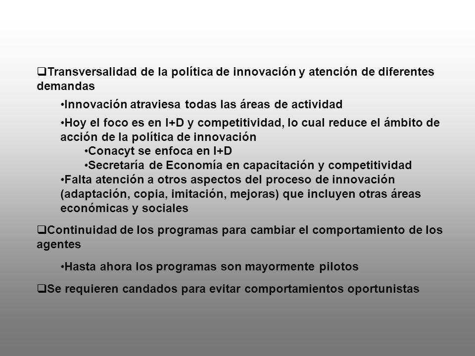 Articulación entre la política de innovación y una política nacional para el desarrollo Asignación de recursos en diferentes demandas nacionales Pasar a un nivel estratégico de la política de innovación/CTI Definición de prioridades en sectores estratégicos de acuerdo a una visión de país, al tiempo que se avanza hacia una coordinación de más alto nivel Focalización en nuevos sectores/clusters Ajuste continuo de las capacidades a lo largo del tiempo Evolución de los intrumentos pari pasu con la evolución de los sectores para atender a nuevas necesidades … aprendizaje de las políticas : 1.Políticas horizontales para fomentar la variación y experimentación de nuevos programas 2.Diseño e implementación de nuevos programas centrados en sectores