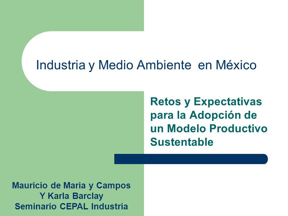 Industria y Medio Ambiente en México Retos y Expectativas para la Adopción de un Modelo Productivo Sustentable Mauricio de Maria y Campos Y Karla Barc