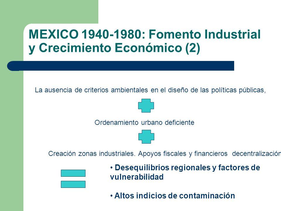 MEXICO 1940-1980: Fomento Industrial y Crecimiento Económico (2) La ausencia de criterios ambientales en el diseño de las políticas públicas, Ordenami