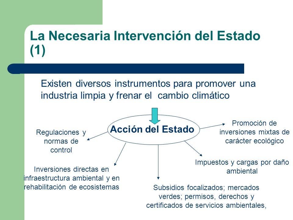 La Necesaria Intervención del Estado (1) Existen diversos instrumentos para promover una industria limpia y frenar el cambio climático Acción del Esta