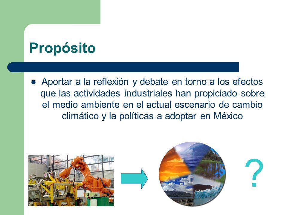 Propósito Aportar a la reflexión y debate en torno a los efectos que las actividades industriales han propiciado sobre el medio ambiente en el actual