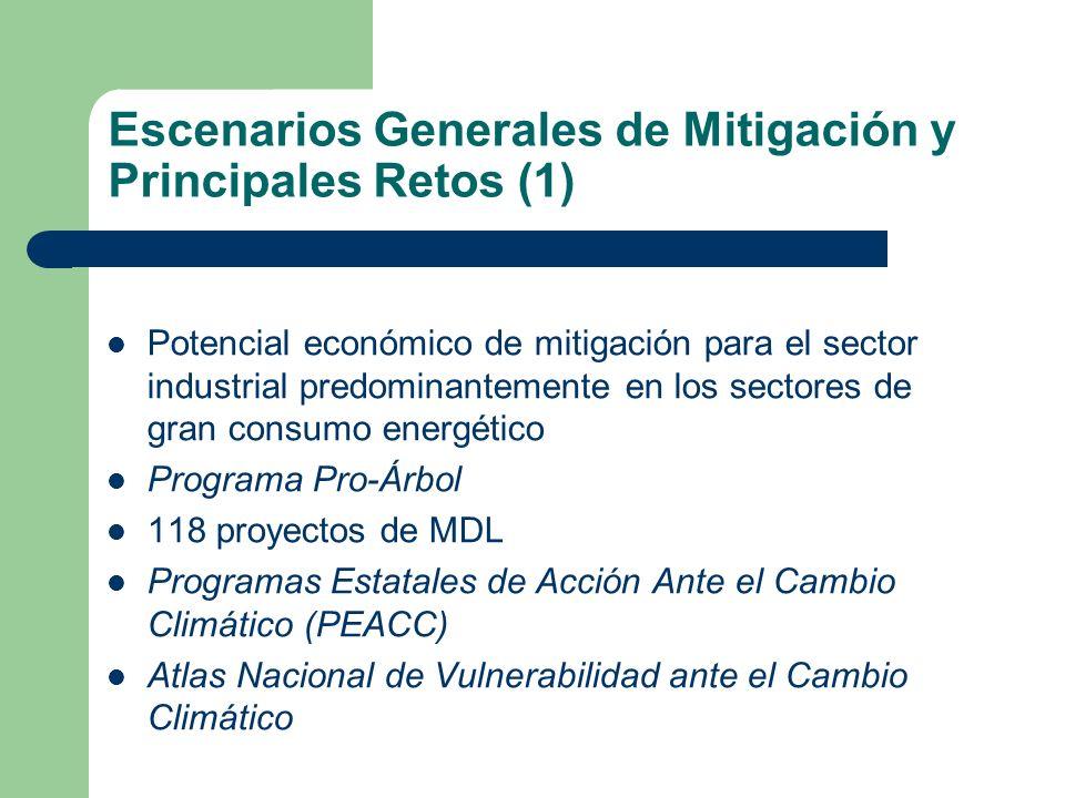 Escenarios Generales de Mitigación y Principales Retos (1) Potencial económico de mitigación para el sector industrial predominantemente en los sector