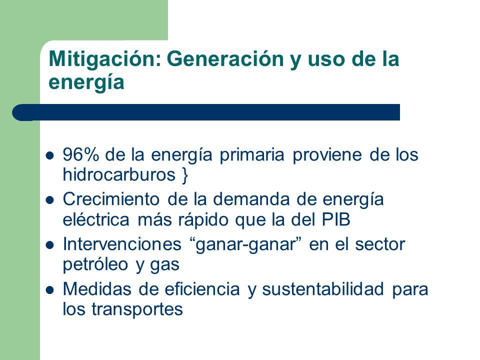 Mitigación: Generación y uso de la energía 96% de la energía primaria proviene de los hidrocarburos } Crecimiento de la demanda de energía eléctrica m