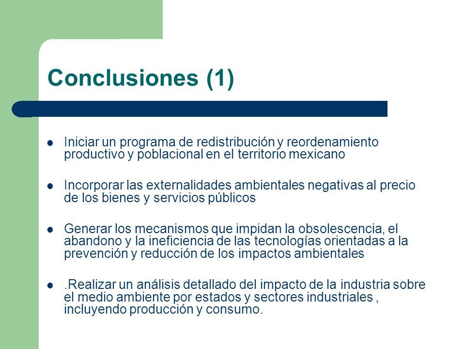 Conclusiones (1) Iniciar un programa de redistribución y reordenamiento productivo y poblacional en el territorio mexicano Incorporar las externalidad