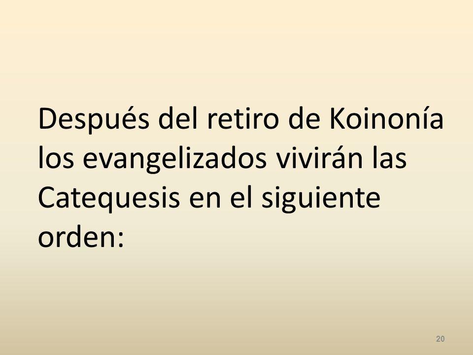 Después del retiro de Koinonía los evangelizados vivirán las Catequesis en el siguiente orden: 20