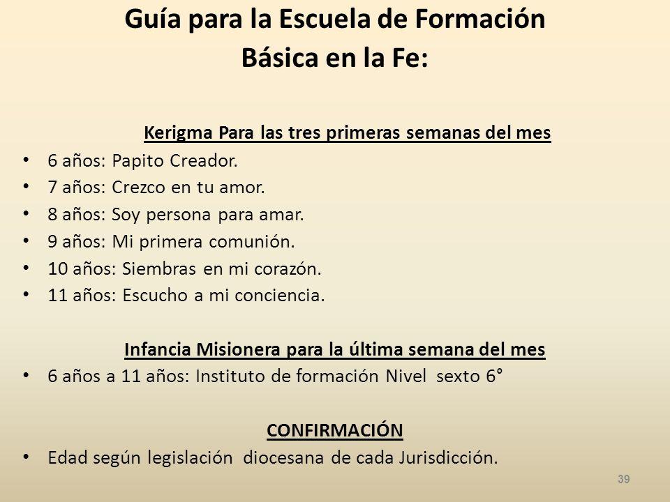 Guía para la Escuela de Formación Básica en la Fe: Kerigma Para las tres primeras semanas del mes 6 años: Papito Creador.