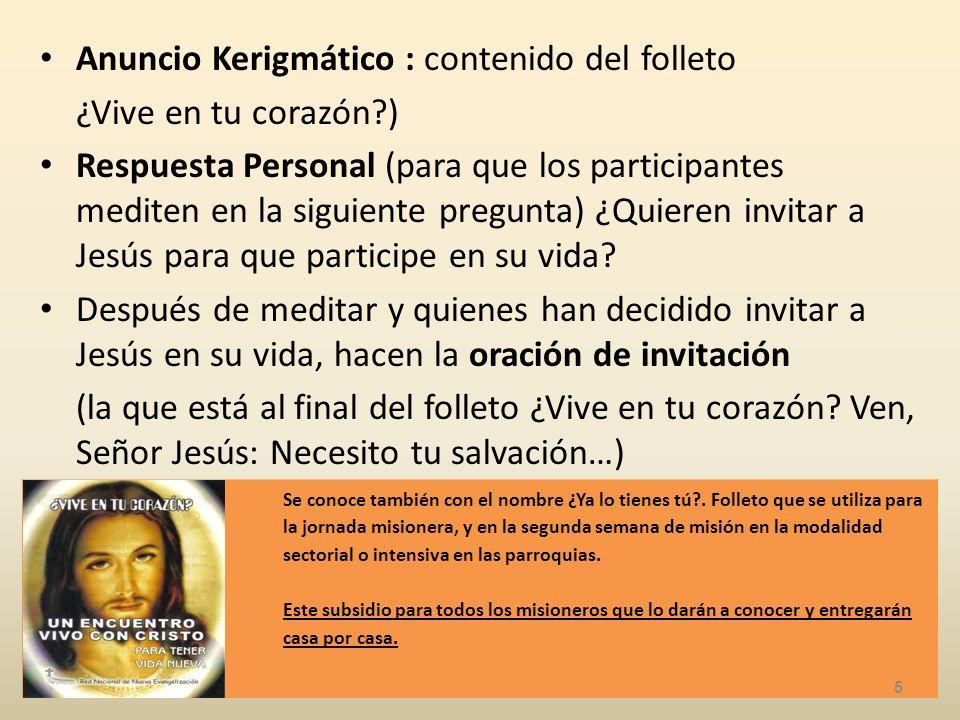 Anuncio Kerigmático : contenido del folleto ¿Vive en tu corazón?) Respuesta Personal (para que los participantes mediten en la siguiente pregunta) ¿Quieren invitar a Jesús para que participe en su vida.