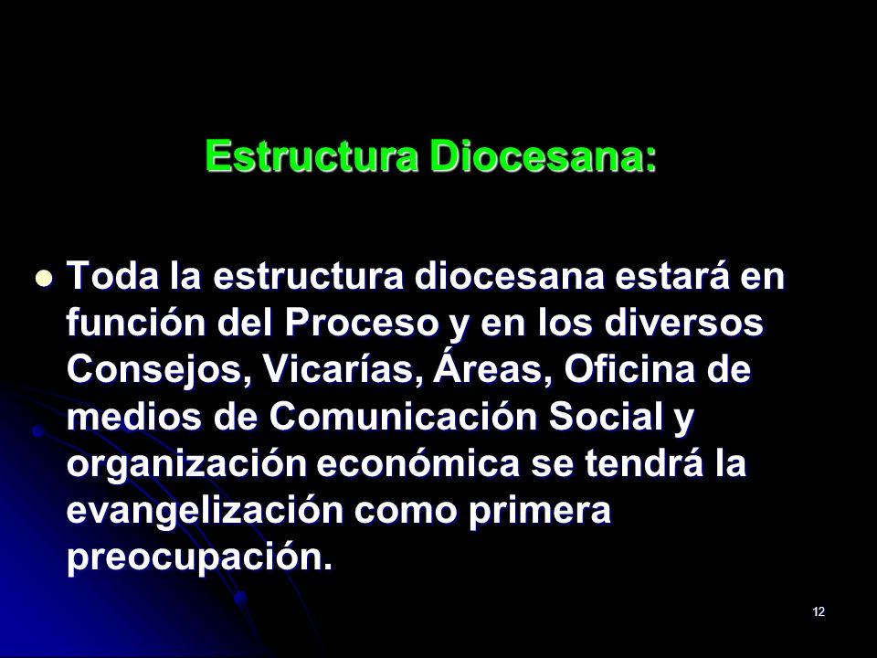 12 Estructura Diocesana: Toda la estructura diocesana estará en función del Proceso y en los diversos Consejos, Vicarías, Áreas, Oficina de medios de