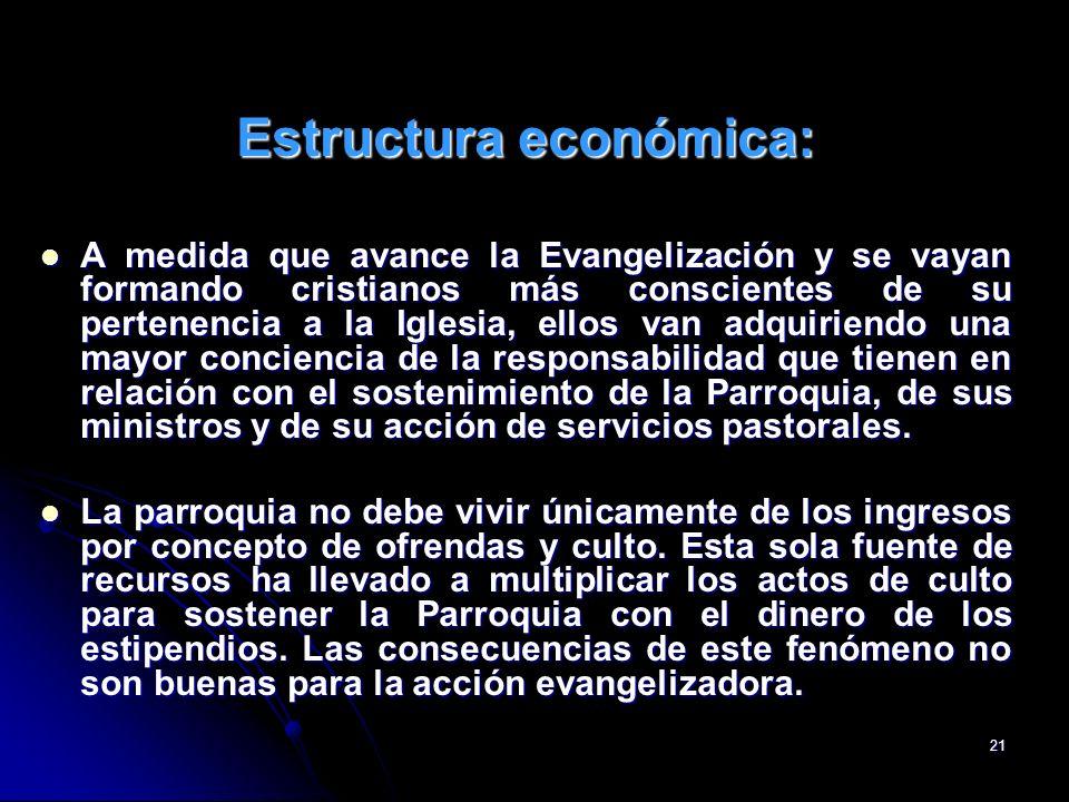 21 Estructura económica: A medida que avance la Evangelización y se vayan formando cristianos más conscientes de su pertenencia a la Iglesia, ellos va