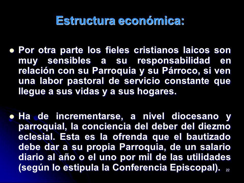 22 Estructura económica: Por otra parte los fieles cristianos laicos son muy sensibles a su responsabilidad en relación con su Parroquia y su Párroco,